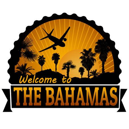 timbre voyage: Bienvenue à L'étiquette de Voyage Bahamas ou timbre sur fond blanc, illustration vectorielle