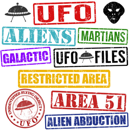 51: Set of aliens and UFO grunge rubber stamps on white, vector illustration Illustration