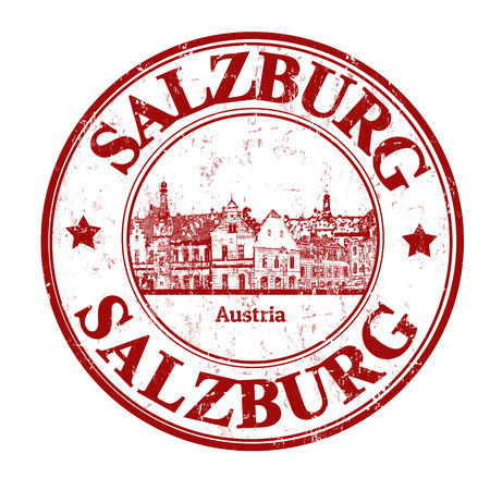 Red grunge rubber stamp with  the name of Salzburg written inside, vector illustration Vector