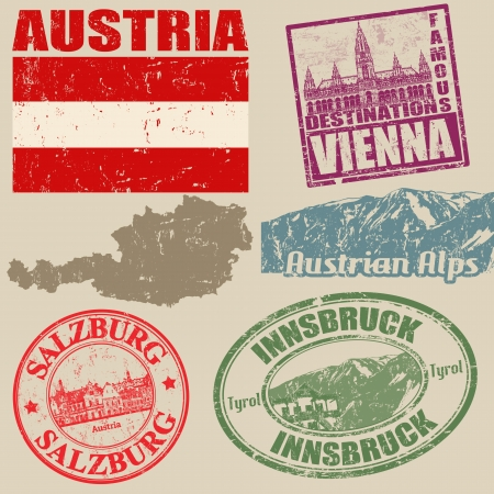Set of grunge stamps with Austria on vintage background, vector illustration Vector