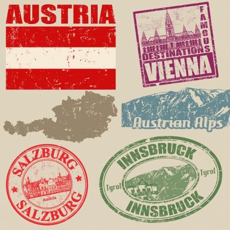 Set of grunge stamps with Austria on vintage background, vector illustration