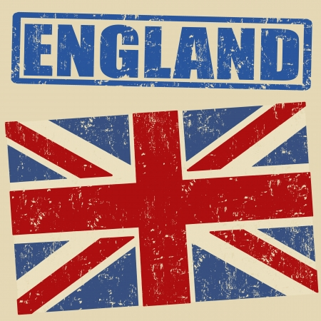 British grunge flag on vitage background and england rubber stamp, vector illustration Vector