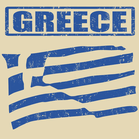 greece flag: Greece grunge flag on vitage background and greece rubber stamp, vector illustration Illustration