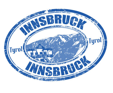 Blue grunge rubber stamp with  the name of Innsbruck written inside, vector illustration Vector