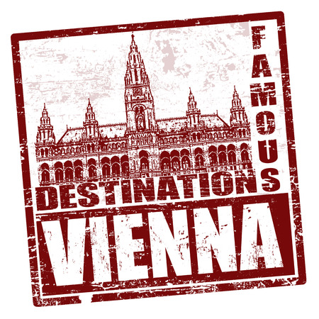 town hall: Grunge rubber stamp with town hall and the word Vienna inside, vector illustration
