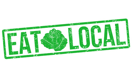 home grown: Eat local grunge rubber stamp on white, vector illustration
