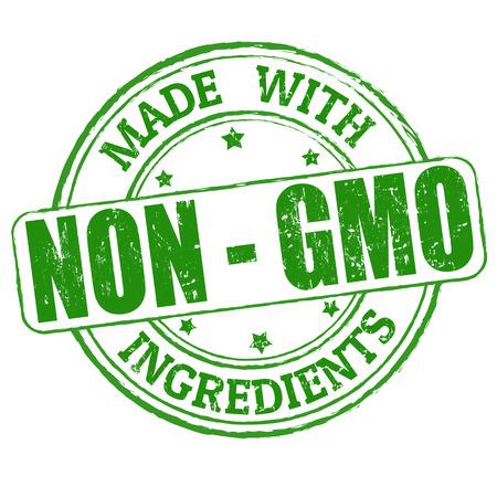 Realizzato con non - OGM timbro di ingredienti di gomma grunge, illustrazione vettoriale Archivio Fotografico - 24752954