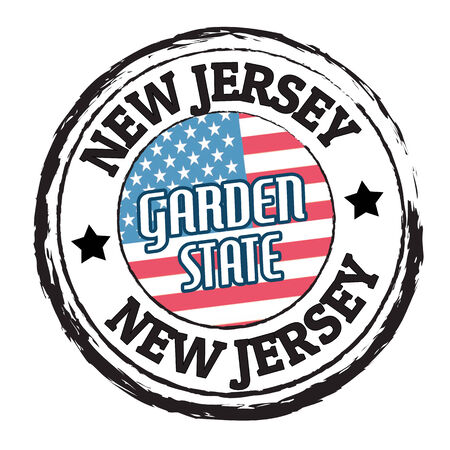 new jersey: Grunge rubber stamp with flag and the text New Jersey, Garden State, illustration Illustration
