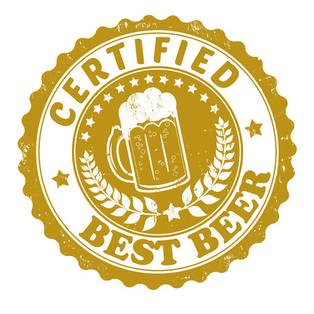 grunge bottle: Best beer certified grunge rubber stamp or label on white, illustration Illustration