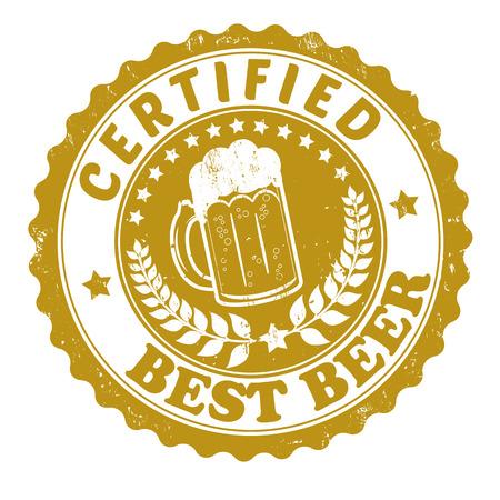 casquetes: La mejor cerveza certificada grunge sello de goma o etiqueta en blanco, ilustraci�n