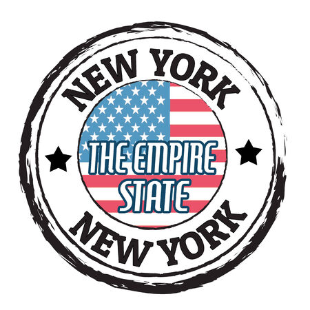 Grunge rubber stamp with flag and the text New York, The Empire State, illustration Vector