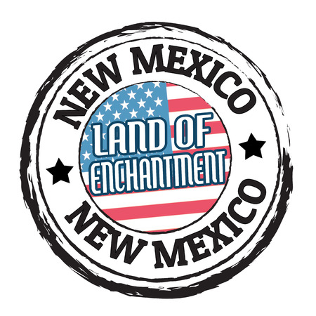 enchantment: Grunge rubber stamp with flag and the text New Mexico, Land of Enchantment, illustration Illustration