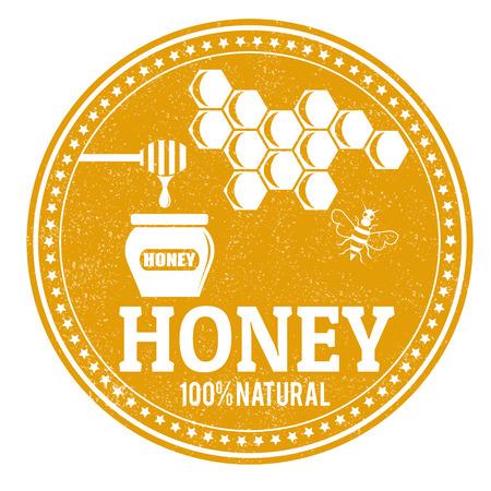 Honig grunge Stempel auf weißem Hintergrund, Vektor-Illustration