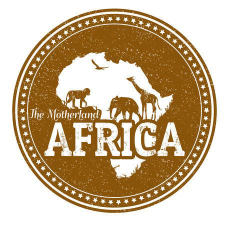 Vintage stamp with wild animals and map of Africa, vector illustration Vector