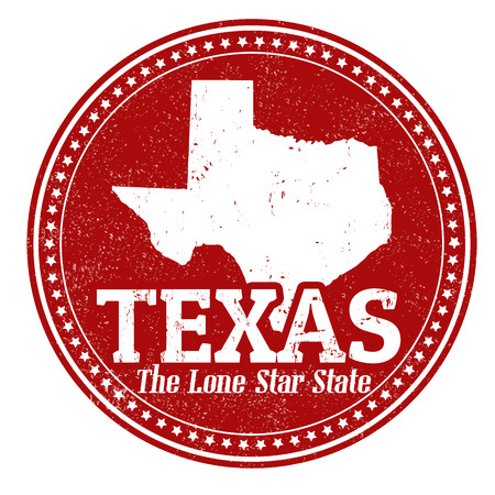 lone: Vintage stamp with text The Lone Star State written inside and map of Texas, vector illustration