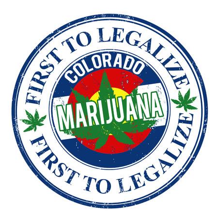 marihuana: Marihuana primero en legalizar, Colorado grunge sello de goma, ilustraci�n vectorial