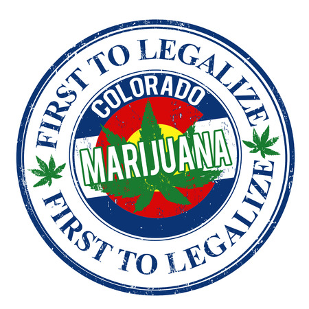 marijuana: Marijuana first to legalize, Colorado grunge rubber stamp, vector illustration Illustration