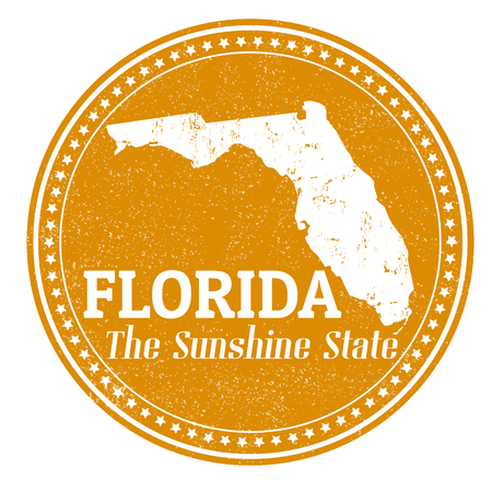 Vintage stamp with text The Sunshine State written inside and map of Florida , vector illustration