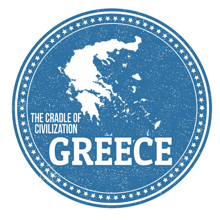 civilization: Vintage stamp with text The Crandle of Civilization written inside and map of Greece, vector illustration Illustration