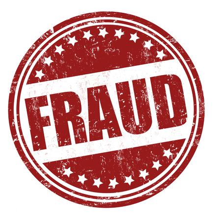 dinero falso: Fraude grunge sello de goma en blanco, ilustración vectorial Foto de archivo