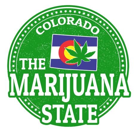 marijuana leaf: The marijuana state, Colorado grunge rubber stamp, vector illustration Stock Photo