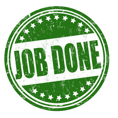 finished good: Job done grunge rubber stamp on white, vector illustration Stock Photo