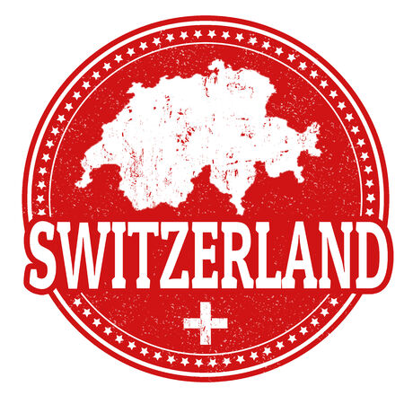 switzerland flag: Vintage stamp with world Switzerland written inside and map of Switzerland, vector illustration