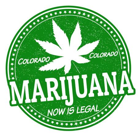 hoja marihuana: La marihuana es legal ahora, Colorado grunge sello de goma, ilustración vectorial