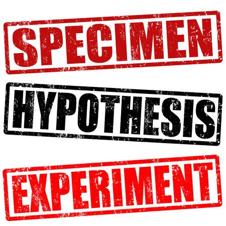 hipótesis: Espécimen, hipótesis y sellos de goma experimento grunge en blanco, ilustración vectorial Foto de archivo