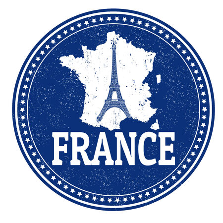 france stamp: Vintage stamp with world France written inside and map of France, vector illustration Stock Photo