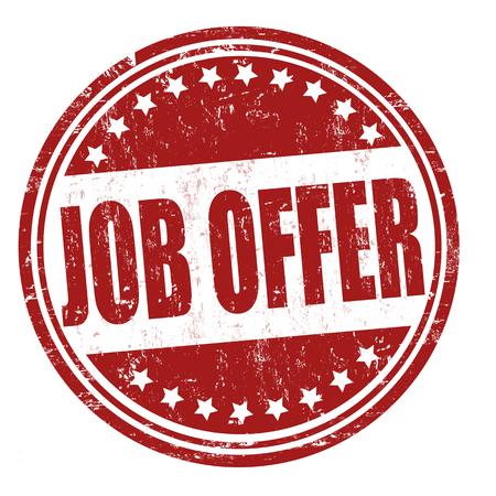 Job offer grunge rubber stamp on white, vector illustration