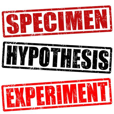 hipótesis: Espécimen, hipótesis y sellos de goma experimento grunge en blanco, ilustración vectorial Vectores