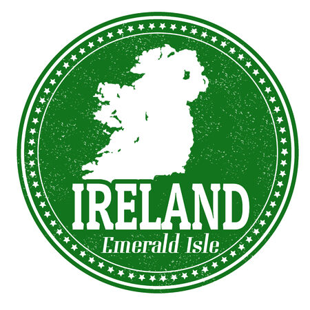 ireland map: Vintage stamp with text Emerald Isle written inside and map of Ireland, vector illustration