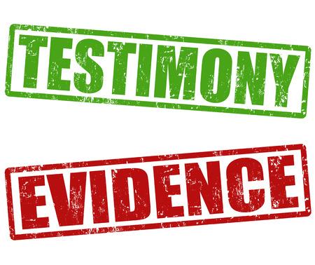 testigo: Testimonios y pruebas grunge sellos de goma en blanco, ilustraci�n vectorial Vectores