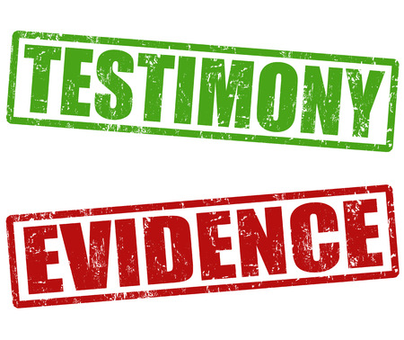 evidence: Testimony and evidence grunge rubber stamps on white, vector illustration