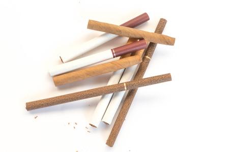 Cigarettes on the white background photo
