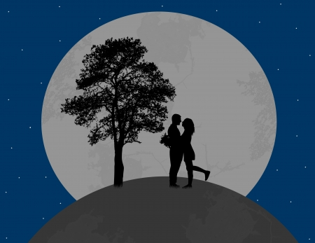 Lovers on globe earth in front a full moon, vector illustration illustration
