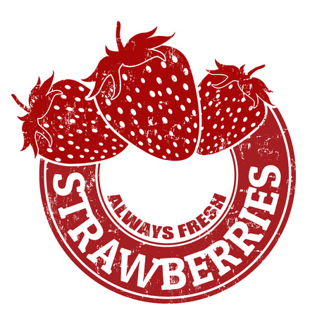 strawberries: Grunge rubber stamp with strawberries and the text Strawberries written inside, vector illustration