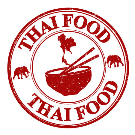 asia food: Thai food grunge rubber stamp on white, vector illustration