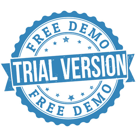 trial: Free trial version grunge rubber stamp on white, vector illustration
