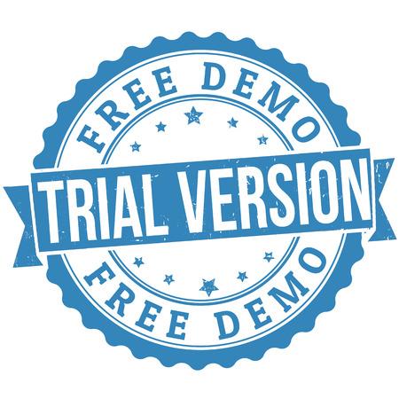 shareware: Free trial version grunge rubber stamp on white, vector illustration