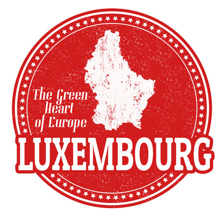 Vintage stamp with world Luxembourg written inside and map of Luxembourg, vector illustration Vector