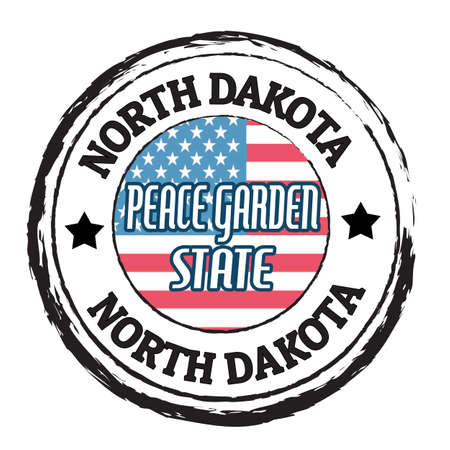 Grunge rubber stamp with flag and the text North Dakota, Peace Garden State, vector illustration Vector