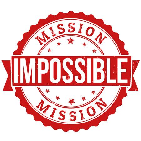 Misión imposible grunge sello de goma en blanco, ilustración vectorial