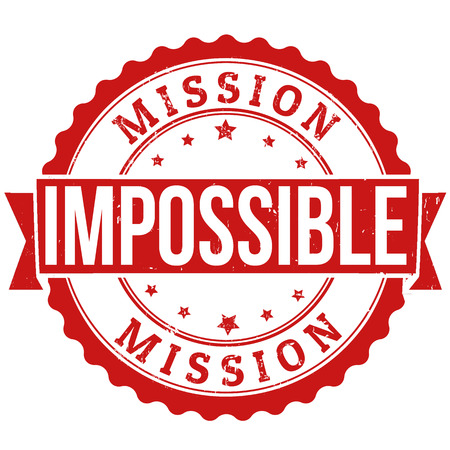 Mission impossible grunge rubberen stempel op wit, vector illustratie Stock Illustratie