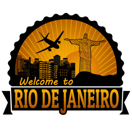 Welcome to Rio de Janeiro travel label or stamp on white, vector illustration Vector