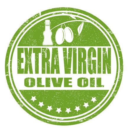 aceite de oliva virgen extra: Grunge sello de goma con las aceitunas y el texto de aceite de Oliva Virgen Extra, ilustraci�n vectorial