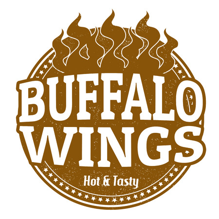 Buffalo Wings grunge rubber stamp on white, vector illustration Vector