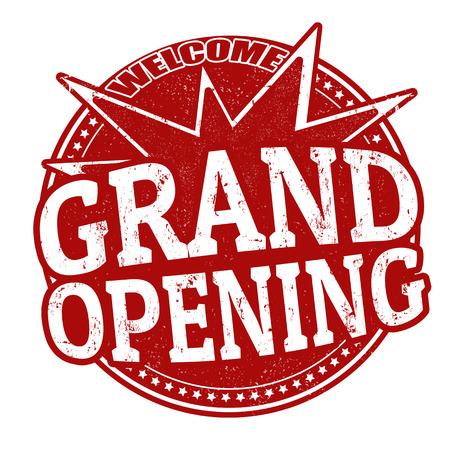 グランド オープン グランジ ゴム印白、ベクトル イラスト  イラスト・ベクター素材