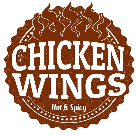 fried chicken wings: Chicken Wings grunge rubber stamp on white, vector illustration Illustration